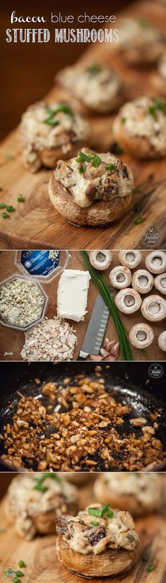 Bacon Blue Cheese Stuffed Mushrooms - An incredibly rich and decadent appetizer that are the perfect party finger food everyone will love.