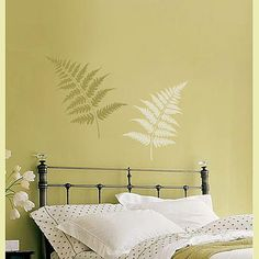 Cutting Edge Stencils - Large Fern Leaves Stencil kit 2pc -- curtain/bleach/stencil idea, dye your curtain whatever color you want your stencil, then wax resist your pattern, then bleach entire curtain. Iron away the wax and you have the color left behind underneath.