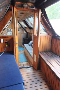 London Tideway Brokerage | Dover Barge Boat, Canal Barge, Living On A Boat, Tiny House Living, Canal Boat Interior, Aka House, Narrowboat Interiors, Tiny Loft, Nautical Interior
