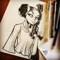 Princess Leia! You can't do #starwars without her right? Quick #inktober for today. PS: anyone else notice how much her head looks like a tie fighter with this hairstyle? by sommariva
