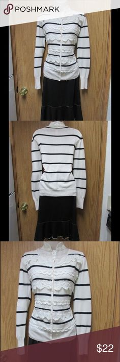Chic Ivory Cardigan W/Black Stripes &Lace trims This cardigan is really cute and elegant. Soft and comfy material.Gorgeous colors and exclusive design. Size Large 12 - Almost New. Save $$$ on bundles. Sweaters Cardigans