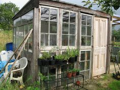 Green house made from recycled windows (and other shed/greenhouse ideas if you follow the link.)