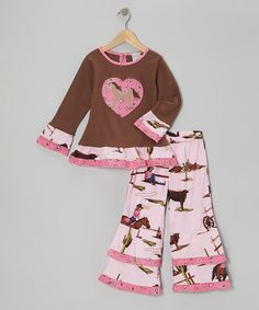 Take a look at this Pink & Brown West Tunic & Ruffle Pants - Infant, Toddler & Girls by AnnLoren on #zulily today!
