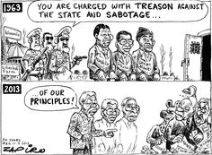 Zuma - 50 years anniversary of the arrests at Liliesleaf Farm published in Mail & Guardian on 11 Jul 2013 Political Memes, Political Science, Political Cartoons, Funny Bunnies, Sociology, African, Comics, Anniversary, Comic Book