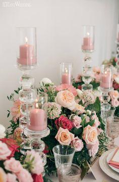 Blush Pink Wedding Table Decor, Pink Wedding Centrepieces | A Fun & Whimsical Pink Wedding | ElegantWedding.ca