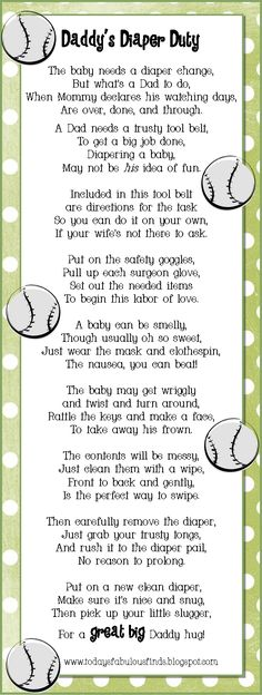 Daddy Diaper Duty Poem---For all my baby having friends, this is huuuularious and true! Bree Swant, Kim Rhine @ Cinnamon Little