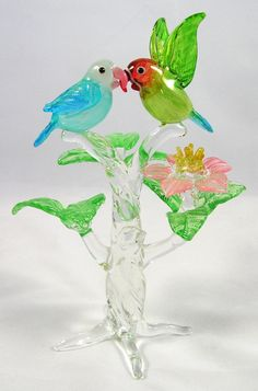 blown glass | Blown Glass Parrots in Tree Figurine - Cockatoo Creations