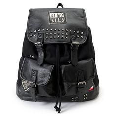 The Glamour Kills Rucker rucksack backpack for girls is a perfect way to add some edge to your style for Back to School, travel or just hanging a This bag comes in a all Black colorway with studded details throughout and tches throughout, the Rucker backpack from Glamour Kills is a durable backpack with no shortage of style.