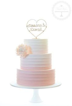 A sweetly simple wedding cake in ombre peach with stylised sugar peony - Cake Decorating Square Ideen Crazy Wedding Cakes, Square Wedding Cakes, Diy Wedding Cake, Diy Wedding Reception, Buttercream Wedding Cake, Amazing Wedding Cakes, Wedding Cakes With Flowers, Wedding Cake Designs, Wedding Dress