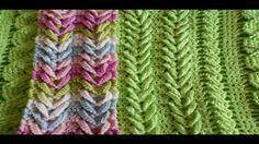 Como hacer punto  espiga - trigo  ( V ) Punto Fantasia en crochet - herm...