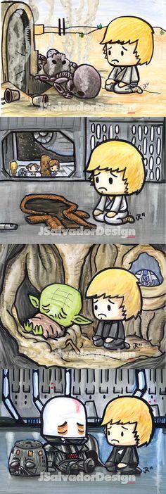 AWW!! Life was hard for Luke Skywalker.