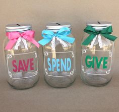 Give Save Spend mason jar banks Coin Slot Lid Large Quart Mason Jar Crafts, Mason Jar Diy, Bottle Crafts, Mason Jar Bank, Happy Jar, Savings Jar, Cricket Crafts, Money Jars, Summer Crafts For Kids