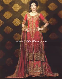 BW6439 Jasper & Dark Upsdell Red Banarasi Jamawar Crinkle Chiffon Lehenga Lehengas Collection UK London, Lehengas Collection Manchester Bolton, UK Designers Lehengas Bridal Wear