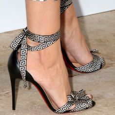 Camilla Belle wearing Greek-inspired Christian Louboutin 'Christeriva' sandals