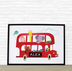 Personalized baby gift animal world map for kids personalized baby gift london bus nursery wall by printasticstudio negle Image collections
