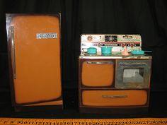 1960's Tin Litho Wolverine Toy Appliance Set Vintage Doll Kitchen