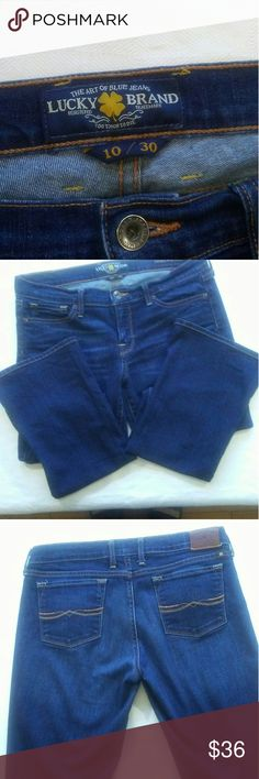 Lucky Brand jeans Charlie Baby Boot dark wash Lucky Brand jeans Charlie Baby Boot dark wash Inseam-30 Waist-17 flat lay Rise-8 EUC Lucky Brand Jeans Boot Cut