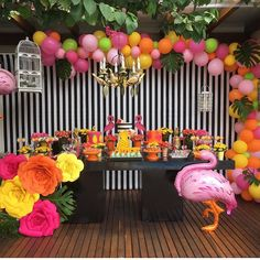Flamingo Birthday Party Set Up 31 Most Popular Ideas Flamingo Party, Flamingo Birthday, Luau Birthday, Birthday Parties, Kids Luau Parties, Luau Party, Luau Baby Showers, Barbie Party, Tropical Party