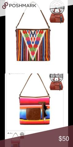 """Concealed hand gun bag Montana West Serape Concealed Handgun Collection Handbag Made of PU leather and canvas Serape blanket inspired prints Soft styled totes Bright summer colors A zippered pocket on the back to conceal the handgun (9.5 x 5.5) A single compartment divided by a medium zippered pocket A zipper enclosure for the entire purse A smaller zippered pocket on inside back 2 open pockets on the inside front 4 studs on the bottom of the bag Double shoulder strap 13.5"""" x 4.6"""" x 14""""…"""