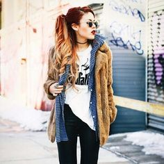 Luanna Perez layerd outfit. Love the fur coat and her red ombre hair