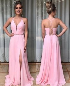 Pink Chiffon Prom Dresses With Split Prom Gown on Luulla Chiffon Evening Dresses, Pink Prom Dresses, A Line Prom Dresses, Grad Dresses, Sexy Dresses, Bridesmaid Dresses, Formal Dresses, Prom Gowns, Dress Prom