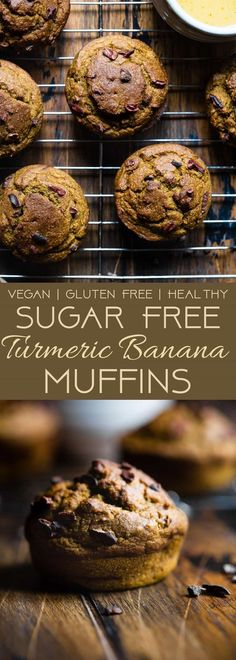 Sugar Free Turmeric Banana Muffins - These anti-inflammatory, healthy banana muffins are loaded with crunchy cocoa nibs! Gluten free, vegan friendly, low fat and only 180 calories! Gluten Free Recipes For Breakfast, Gluten Free Muffins, Gluten Free Desserts, Vegan Desserts, Vegan Gluten Free, Vegan Treats, Dairy Free, Breakfast Bake, Breakfast Cookies