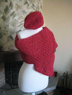 Sciarpa e cappello lana rosso uncinetto