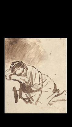 """Rembrandt Van Rijn - """" Femme endormie """" - Lavis de brun et de blanc - 24 x 20 cm"""