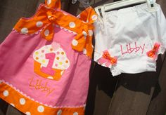 Birthday Outfit, First Birthday, Party Hat, Big Bow, Headband, Orange and Hot Pink Knot Dress. $95.00, via Etsy.