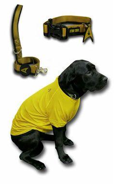 continued: Star Trek Outfit for Puppy - Trek Dog Uniform: http://www.superherostuff.com/star-trek/pet-accessories/star-trek-command-uniform-dog-shirt.html?itemcd=petstcmdshrt Trek Dog Collar: http://www.superherostuff.com/star-trek/collars/star-trek-command-uniform-dog-collar.html?itemcd=petstcmdclr Trek Leash: http://www.superherostuff.com/star-trek/leashes/star-trek-command-uniform-dog-leash.html?itemcd=petstcmdlsh