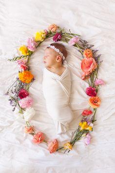 Babies in flowers.