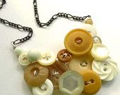 Tan Brown and White Upcycled Vintage Button Jewelry - Statement Necklace
