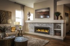 Napoleon's Vector fireplaces brings that modern linear design with the charming, traditional stone.