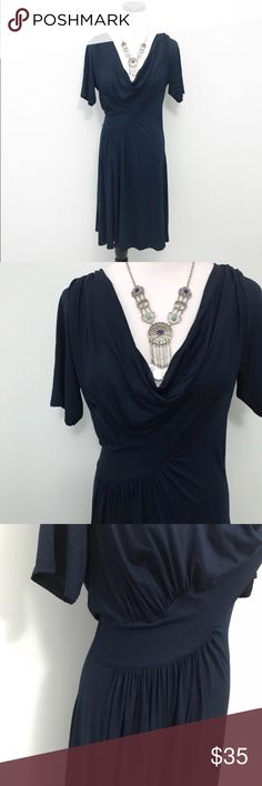 Anthropologie Three Dots Navy blue drape Dress Hand washed and never worn. Cowl neck dress from Three Dots, an Anthropologie brand. Gathering around waist.  Size large. Anthropologie Dresses