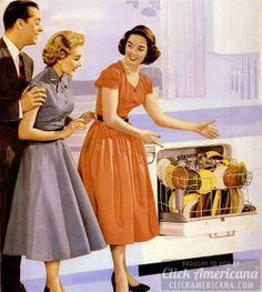 How to be a perfect fifties housewife: In the kitchen. As if the food wasn't impressive enough, well, the dishwasher was truly something worth sharing with guests. 1950s Housewife, Vintage Housewife, Housewife Meme, Vintage Advertisements, Vintage Ads, Vintage Woman, Retro Advertising, Vintage Humor, Vintage Market
