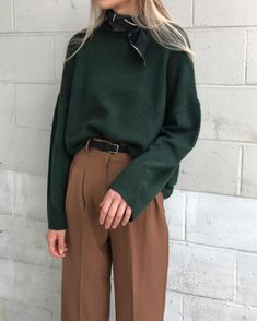 Forest green and camel trousers