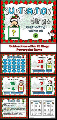 In this game, students are practicing subtracting within 25. Kit includes 24 unique bingo card and 4 blank cards in case you need to make more! Also includes a call sheet. There are 25 questions and you just click on each question to go to it.