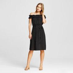 a3408067b7b Women s Bardot Midi Dress - Who What Wear - Black Polka Dot Xxl