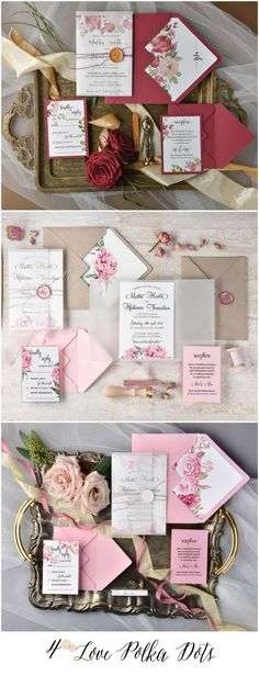 Watercolor floral calligraphy invitations 4lovepolkadots #sponsored