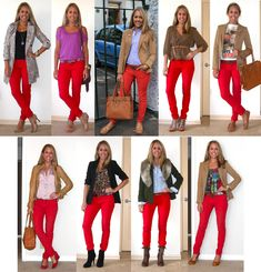 Here is Red Pants Outfit Ideas Pictures for you. Red Pants Outfit Ideas 9 ways to wear red pants outfits at work red pants outfit. Red Jeans Outfit, Pants Outfit, Outfit Posts, Jeans Pants, Mode Outfits, Jean Outfits, Casual Outfits, Fashion Outfits, Office Fashion