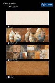 Visual #art for your #interiors.  Matt Wall Tile #Design 115 - Millennium Tiles 250x750mm (10x30) Ceramic Matt Large Format Wall #Tiles Series  - 115_L - 115_HL-A - 115_HL-B - 115_D