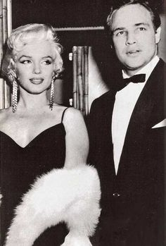 Marilyn Monroe and Marlon Brando at the premiere of The Rose Tattoo, 1955