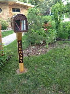 Maday Lange. Baraboo, WI. A Little Library made from a large mailbox! They even replaced part of the front door with Plexiglas so you can see inside. Cool, huh?