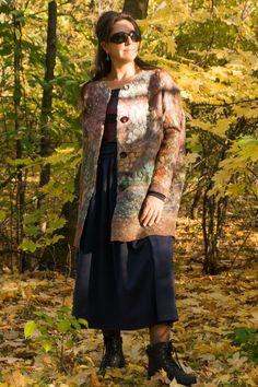 Handmade clothing made of felted wool. Boho Womens Clothing, Bohemian Style Clothing, Plus Size Womens Clothing, Winter Outfits Women, Winter Coats Women, Coats For Women, Cute Clothes For Women, Felted Wool, Boho Outfits