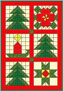 Christmas Tree Sampler Quilt - all simple squares and HSTs Christmas Tree Quilt, Christmas Patchwork, Christmas Blocks, Christmas Quilt Patterns, Barn Quilt Patterns, Christmas Quilting, Christmas Sewing Projects, Winter Quilts, Sampler Quilts