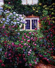 Roses Art - English Manor House Roses  by David Lloyd Glover