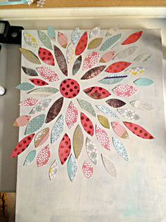 How to make a canvas flower painting with scrapbook paper from me  my BIG ideas.