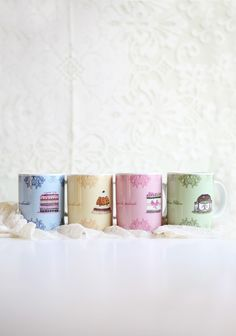 "Just Desserts Four Piece Mug Gift Box 24.99 at shopruche.com. Enjoy your coffee and tea with this ceramic mug set. The set includes four mugs that each feature a delicate design and a desert illustration with a vintage touch. Microwave and dishwasher safe.  Approx. 4"" tall"