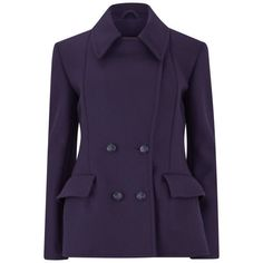 McQ Alexander McQueen Women's Short Peacoat - Deep Purple (40.240 RUB) ❤ liked on Polyvore featuring outerwear, coats, jackets, casacos, coats & jackets, purple, short double breasted coat, mcq by alexander mcqueen, cropped coat and short pea coat