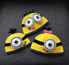 Crocheted Minion Hats: Free Pattern (Not sure if you have to sign up for the site, as I already have an account. The account is free too. I get lots of free patterns here.)